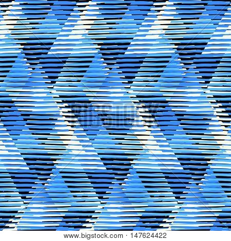 Vector geometric seamless pattern with tech line and zigzags in blue colors. Striped modern bold print in 1980s style. Op art stripes pattern. Abstract techno chevron background. Digital funky pattern
