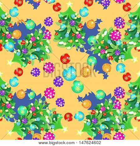 Seamless Pattern Fishbone In New Year's Balloons And Christmas Gifts On Orange. Vector Illustration