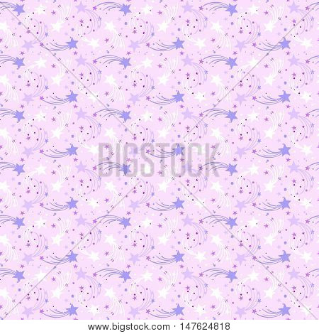 Vector seamless hand drawn pattern with falling stars, comet and sky in doodle style. Funky ditsy background with fireworks and holiday lights. Childish, cute print for kids textile design. pink color
