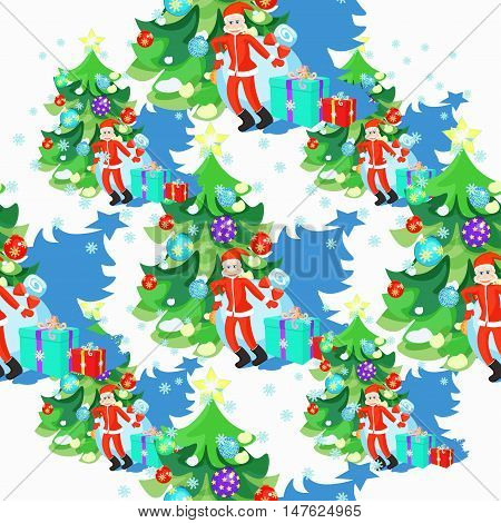 Seamless Pattern Of Santa Claus And Fishbone In Christmas Balls. Vector Illustration