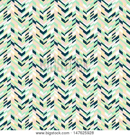 Vector geometric seamless pattern with tech line and zigzags in mint green colors. Striped modern bold print in 1980s retro style for summer spring fashion Abstract techno chevron background