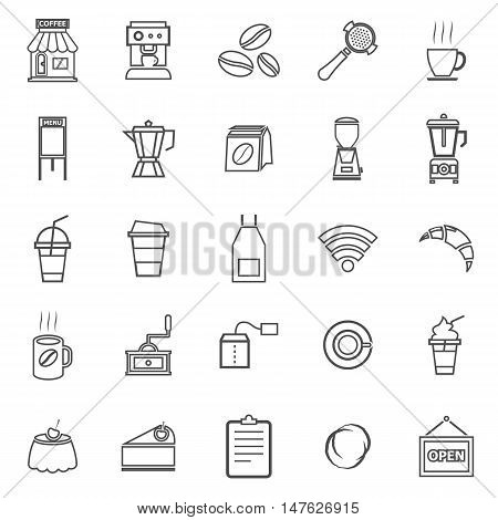 Coffee shop line icons on white background, stock vector