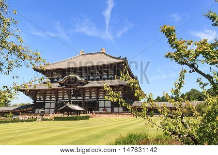 Wooden main building of Todaiji temple in Nara Japan