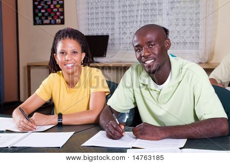 two african american students in classroom