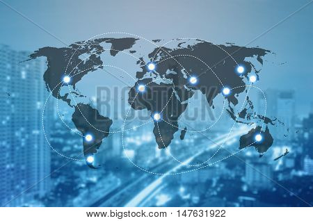 Double exposure of world map connecting and blurred cityscape of business centre Technology and network connection concept world map element of this image furnished by NASA