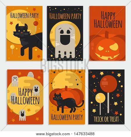 Halloween party banners cards and posters in flat style. Vector halloween concept cards for web mobile party invitations sale advertising.