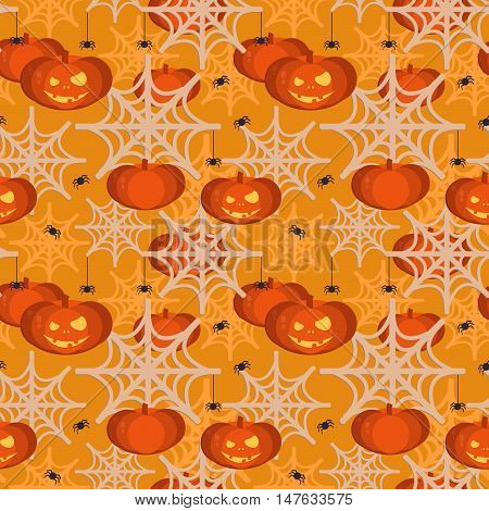 Halloween pumpkin head seamless pattern.Halloween background for shops wrapper gift wrap textile party banners and wallpaper.