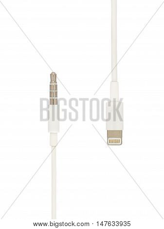 3.5 mm audio mini jack plug comparing with new lightning 8 pins audio jack plug isolate on white background Clipping path