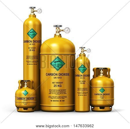 3D render illustration of the set of yellow metal steel liquefied compressed natural carbon dioxide gas containers or cylinders with high pressure gauge meters and valves isolated on white background