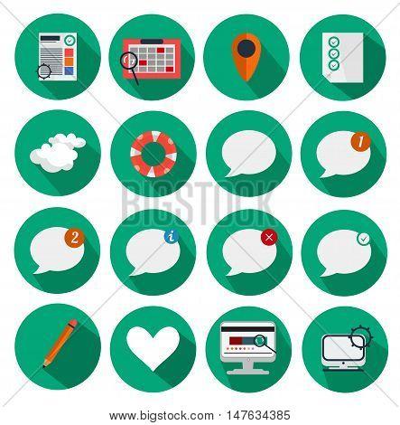 Flat Vector Icon Set for All Purposes: Business, Finance, Travel, Web Design, App Development, Communication, Statistics, Finance, Business, Media Infographics