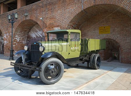 NIZHNY NOVGOROD, RUSSIA - AUGUST 27, 2015: Truck GAZ-AA in the exposition of military equipment. The Kremlin of Nizhny Novgorod. Historical landmark