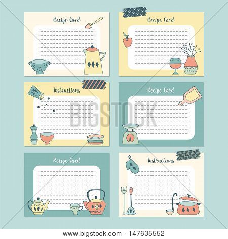 Set Of Recipe Cards With Hand Drawing Kitchen Utensil. Isolated Vector Illustration