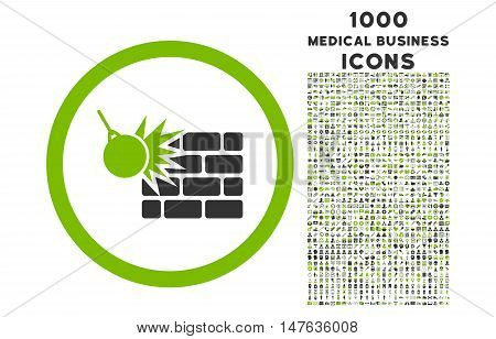 Wall Destruction rounded vector bicolor icon with 1000 medical business icons. Set style is flat pictograms, eco green and gray colors, white background.