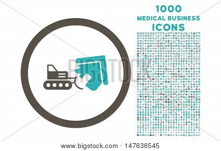 Demolition rounded vector bicolor icon with 1000 medical business icons. Set style is flat pictograms, grey and cyan colors, white background.