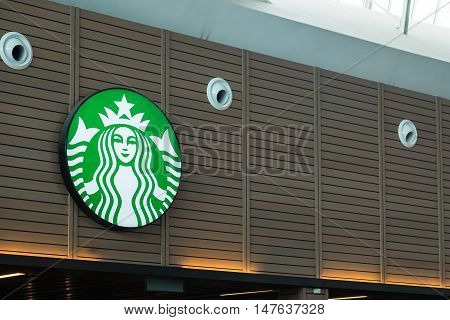 KUALA LUMPUR MALAYSIA - SEP 4 2016 - MAY 16: Exterior view of a Starbucks store in the city centre on May 16 2013 in Hat Yai Thailand. Starbucks is the world's largest coffee house with over 20000 stores in 61 countries.