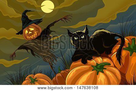 Halloween  background  Pumpkin head, zombie hand, Halloween symbols. Halloween silhouette for Halloween party flyer invite card design. Halloween night background ghost zombie illustration