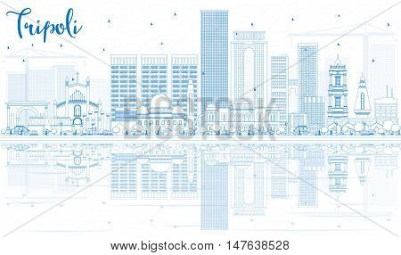 Outline Tripoli Skyline with Blue Buildings and Reflections. Business Travel and Tourism Concept with Historic Buildings. Image for Presentation Banner Placard and Web.