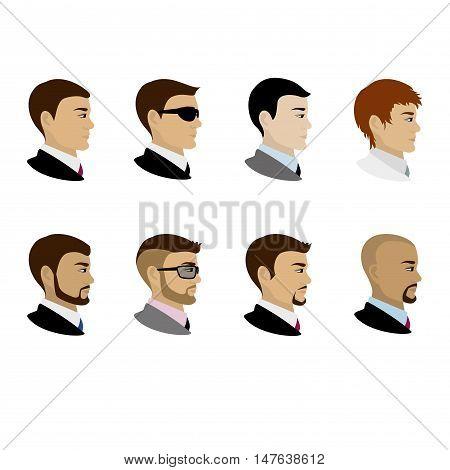 Male portrait in profile cartoon vector illustration