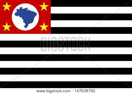 Flag of Sao Paulo, Brazil state, in correct size, proportion, colors. Vector