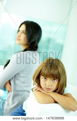 Mother and little daughter angry with each other