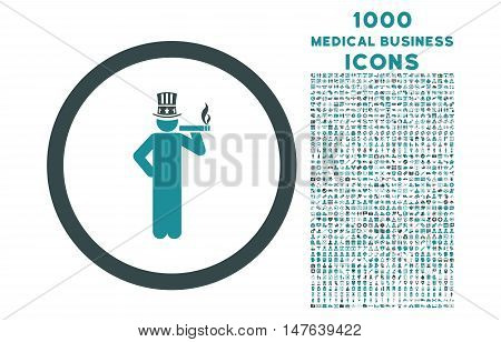 American Capitalist rounded vector bicolor icon with 1000 medical business icons. Set style is flat pictograms, soft blue colors, white background.