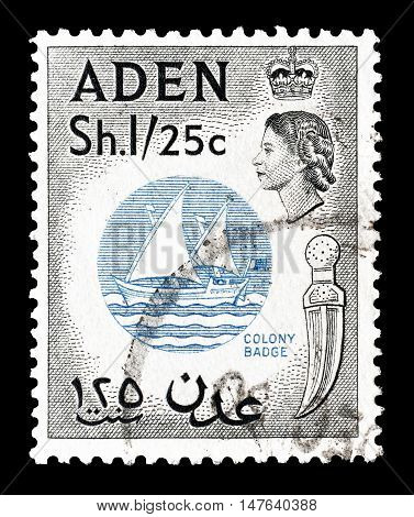 ADEN - CIRCA 1956 : Cancelled postage stamp printed by Aden, that shows Colony badge.