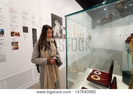 HONG KONG - JANUARY 29, 2016: inside of Hong Kong Heritage Museum. Hong Kong Heritage Museum is a museum of history, art and culture in Sha Tin, Hong Kong, located beside the Shing Mun River