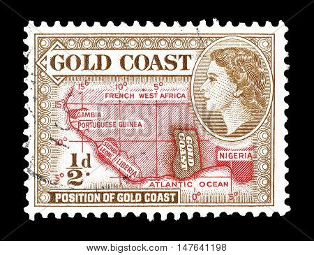 GOLD COAST - CIRCA 1952 : Cancelled postage stamp printed by Gold Coast, that shows Map of west Africa.