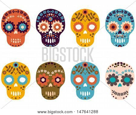 Sugar skulls for the day of the dead with flower patterns