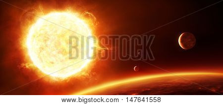 2d illustration of big fiery red sun with planets and moons in the foreground, digitally painted.