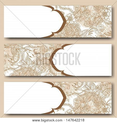 Vintage floral cards template. Hand drawn abstract flowers. Doodles Mehndi henna tattoo design. Banner business card flyer invitation greeting card postcard. Vector illustration