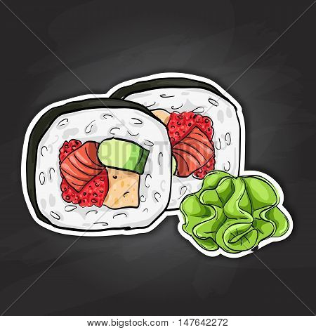 Futomaki roll. Japanese cuisine, traditional food icon. Vector sushi color sticker