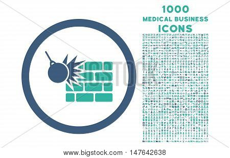 Wall Destruction rounded vector bicolor icon with 1000 medical business icons. Set style is flat pictograms, cobalt and cyan colors, white background.