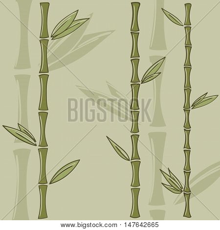 Background with green bamboo stems. Bamboo branches isolated vector illustration