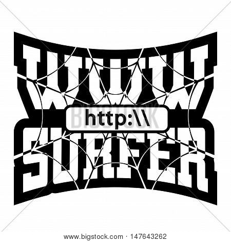 WWW internet surfer t shirt typography graphics. Grunge mockup with windows address. Fashion stylish print sport wear. Template for apparel card poster. Symbol web browser site Vector illustration