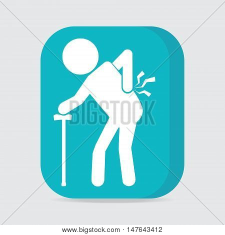 Elderly Man with stick and injury of the back pain icon Old people sign
