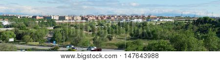 Panoramic view of the city of Leganes. Leganes is a famous municipality in the southwest of Madrid