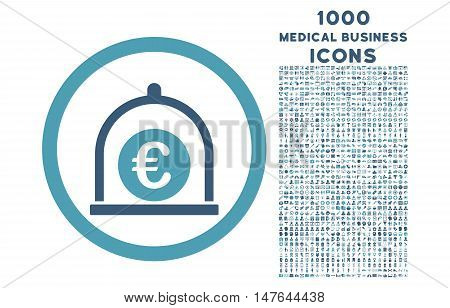 Euro Standard rounded vector bicolor icon with 1000 medical business icons. Set style is flat pictograms, cyan and blue colors, white background.