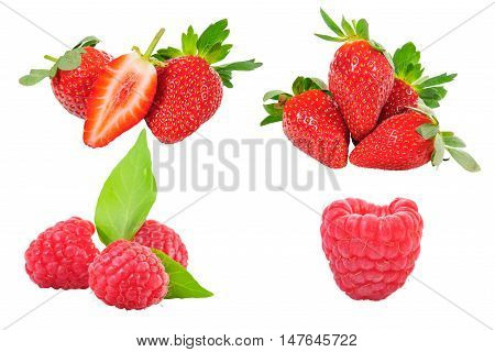Collection of Strawberry and red berry on background