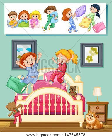 Kids at slumber party in bedroom illustration