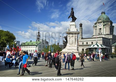 QUEBEC-CANADA 16 SEPT 2016:  Scenic view on terrace Dufferin and Champlain monument that wraps around the Chateau Frontenac in Quebec City, overlooking the St. Lawrence.  Built in 1838.