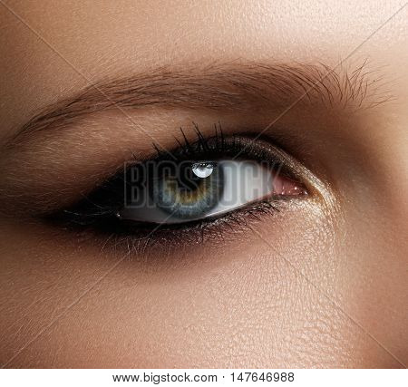 Creative Eye Makeup. Fashionable Smoke Eyes. Cosmetics And Make-