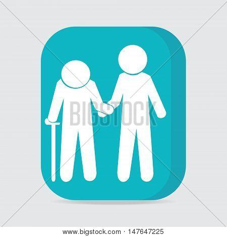 Man helps elderly patient icon button vector illustration