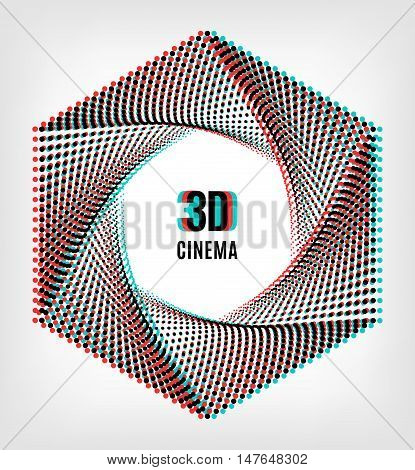 3D cinema creative concept, 3d movie icon. 3D symbol with chromatic aberration, the camera aperture of the points. Vector illustration
