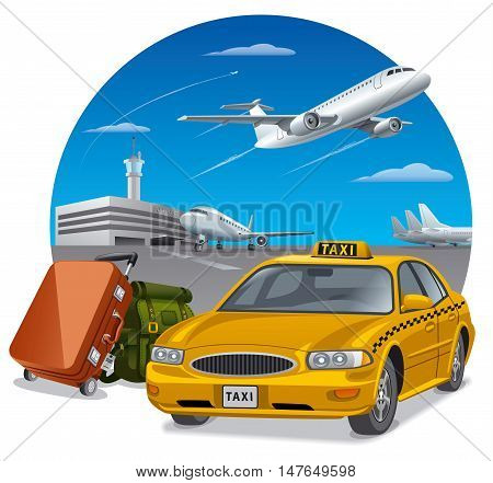 illustration of taxi and luggage in airport