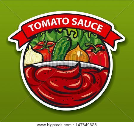 label and sticker of tomato sauce with vegetables