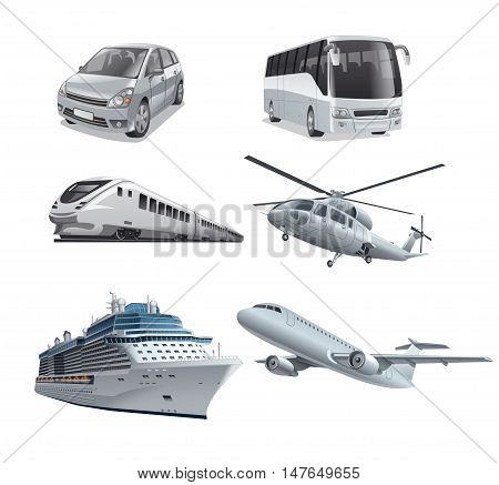 illustration of different mode of transport car train bus cruise ship airplane and helicopter