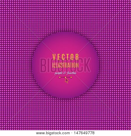 Purple fuschia abstract background. Violet background design. Luminescence dots, abstract light halftone. Text place, all the elements are isolated and can be easily edited, Vector illustration