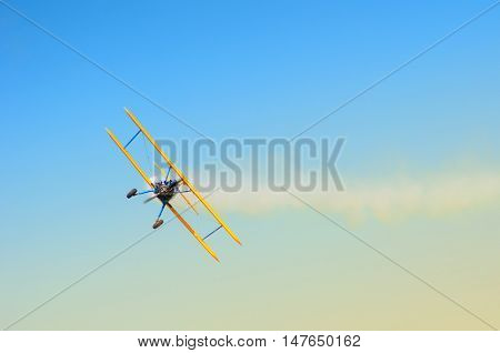 bi-plane in flight during an air show