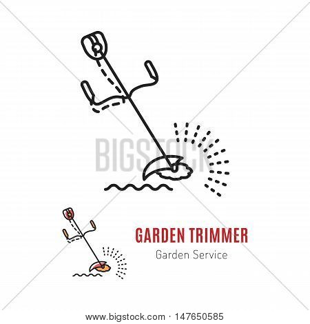 Vector icons garden grass trimmer in a linear style thin line. Gardening tools. Illustration isolated emblem, logo trimmer on a white background